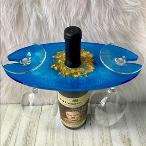 Wine Rack Handmade Blue with Chunky Gold